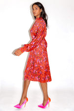 Liquorish Red Floral Fake Wrap Midi Dress