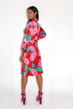 Liquorish Overscale Floral Midi Fake Wrap Dress in Contrast Colours