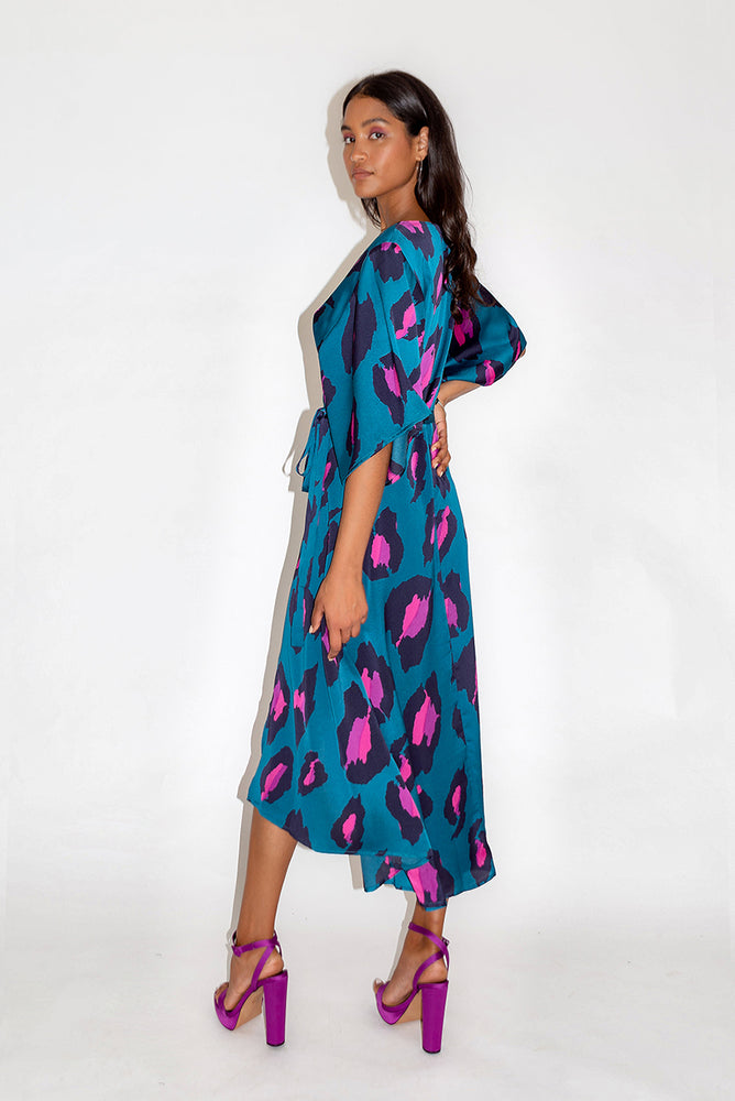 Liquorish Petrol Blue Midi Wrap Dress with Ombre Leopard Print