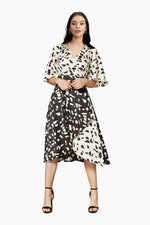 Liquorish Midi Wrap Dress In Abstract Black & White Animal Print with Kimono Sleeve