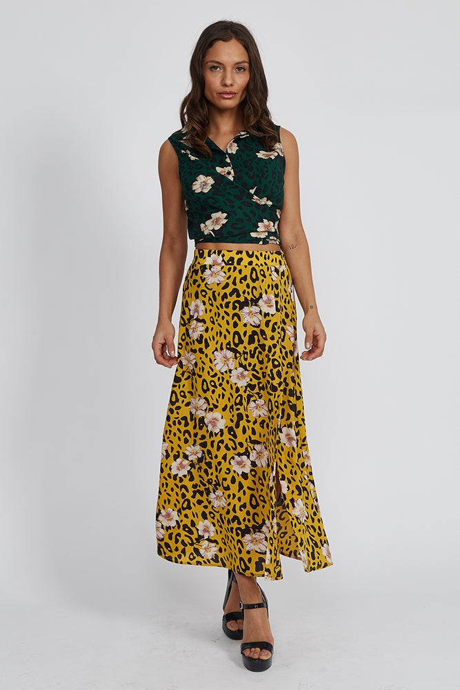 Liquorish Midi Skirt in Mustard Leopard and Floral Print