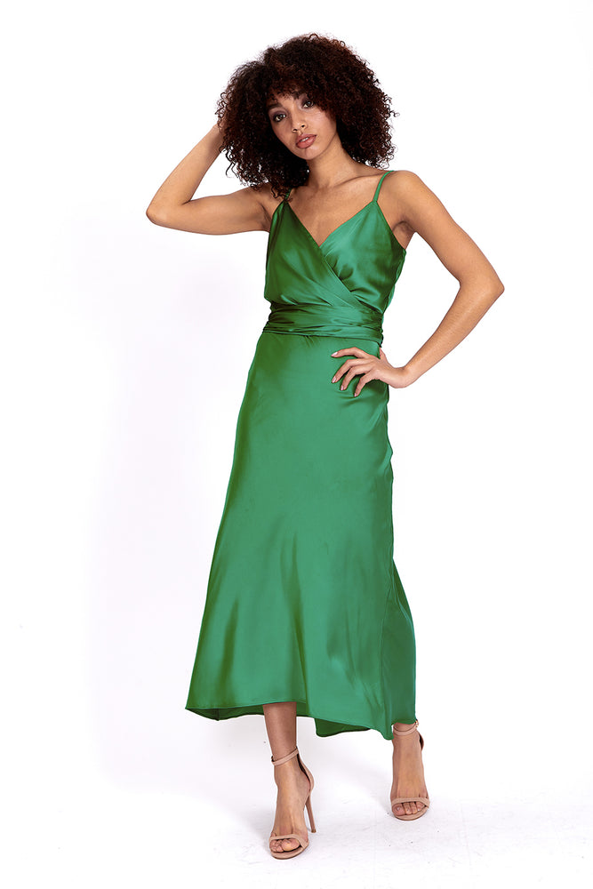 Liquorish Forest Green Cami Midi Dress