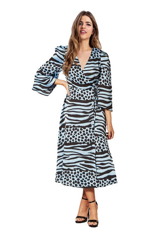 Liquorish Midi Wrap Dress In Black and Blue Animal Print