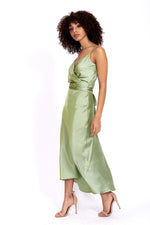 Liquorish Sage Green Cami Midi Dress