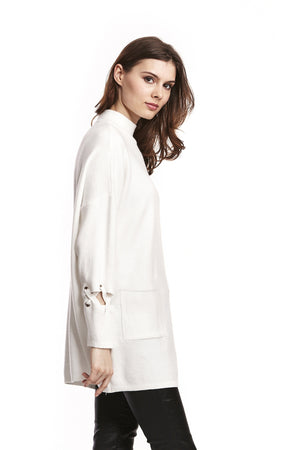 Liquorish Long Turtleneck Jumper With Front Pockets And Detail On Sleeves