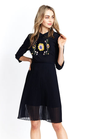 Liquorish Pleated Dress with Floral Embroidery