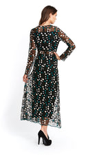 Liquorish Long Sleeves Black Embroidered Maxi Dress