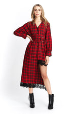 Liquorish Asymmetric Dress in Red Tartan with Lace Hem