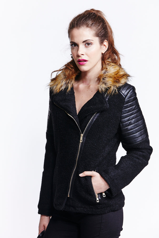 Liquorish Black Wool Biker Jacket