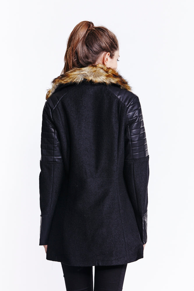 Liquorish Black Wool Mixed Biker Jacket