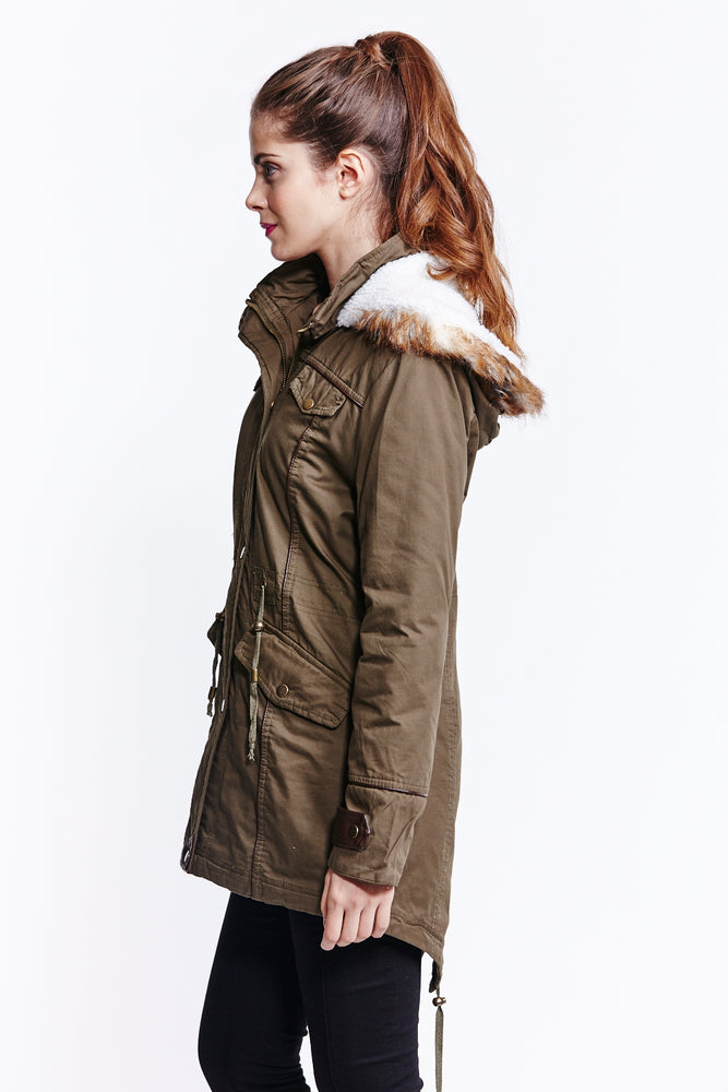 Liquorish Military Jacket Faux Fur Hood Long Winter Coat