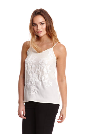 Liquorish Sequin Cream Cami Top