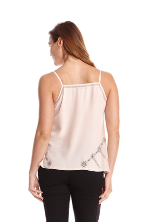 Liquorish Pink Cami Top With Sequins Embroidery