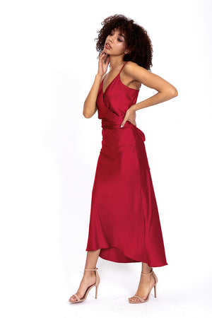 Liquorish Burgundy Red Cami Midi Dress