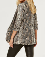 Liquorish Brown Blazer Jacket in Snake Skin Print