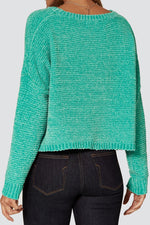 Liquorish Round Neck Jumper in Green