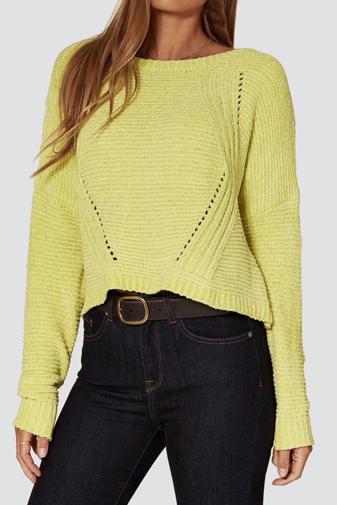 Liquorish Round Neck Jumper in Yellow