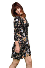 Liquorish Mini Wrap Dress in Floral Print