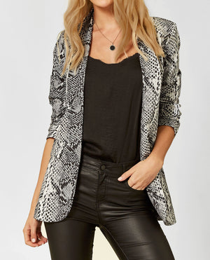 Liquorish Grey Blazer Jacket in Snake Skin