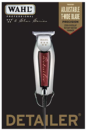 Wahl Professional Series Detailer #56188 - With Adjustable T-Blade, 3 Trimming Guides (1/16 inch - 1/4 inch), Red Blade Guard, Oil, Cleaning Brush and Operating Instructions, 5-Inch - Luxury Beauty - Prohair