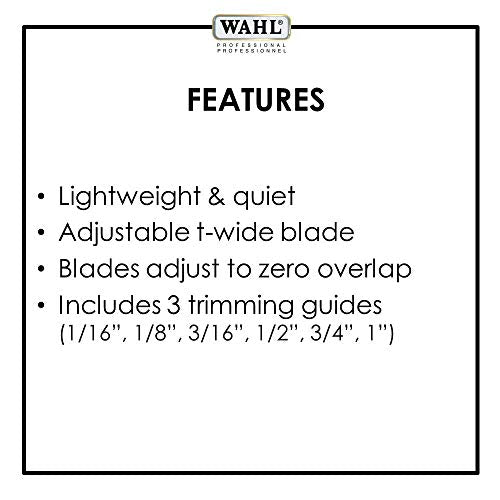 Wahl Professional Series Detailer #56188 - With Adjustable T-Blade, 3 Trimming Guides (1/16 inch - 1/4 inch), Red Blade Guard, Oil, Cleaning Brush and Operating Instructions, 5-Inch