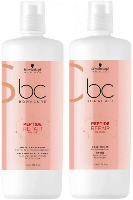 Schwarzkopf - Bc Bonacure - Peptide Repair Rescue Deep Nourishing Micellar Shampoo & Conditioner | 1L - Shampoo set - Prohair