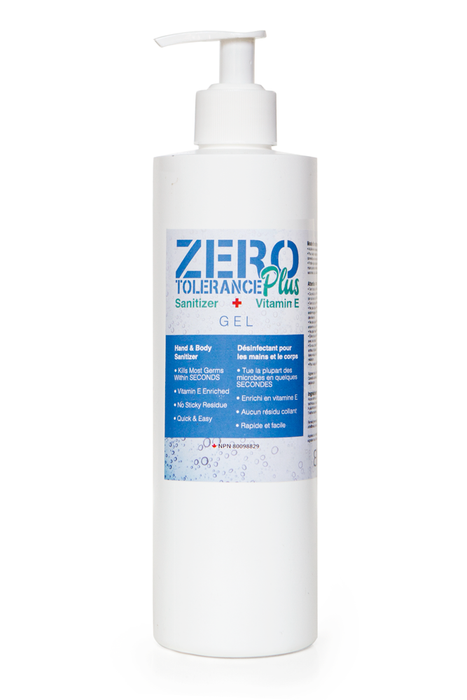 Zero Tolerance Plus Premium Hand and Body Sanitizer Gel with Vitamin E - Cleaning Gel - 8oz - Prohair