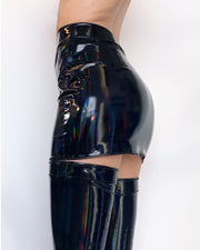 Black Holographic high waisted Zipper miniskirt