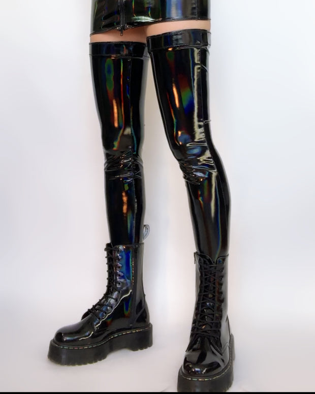 Black holographic PVC stockings