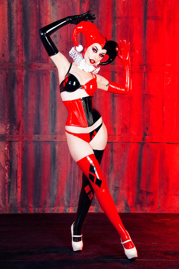 Harley Quinn Hood (chin length with no collar)