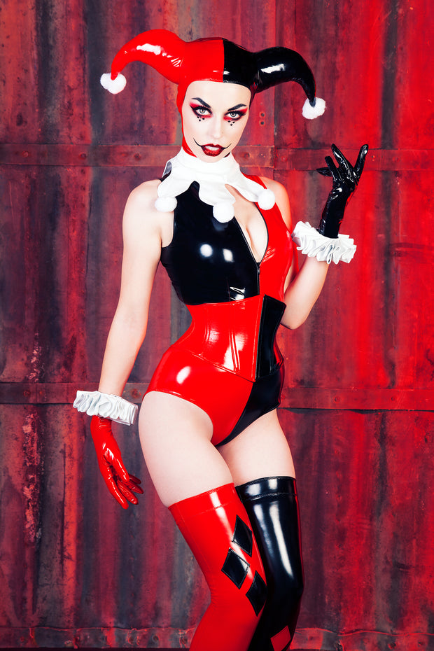 Harley Quinn Gloves with White Cuffs