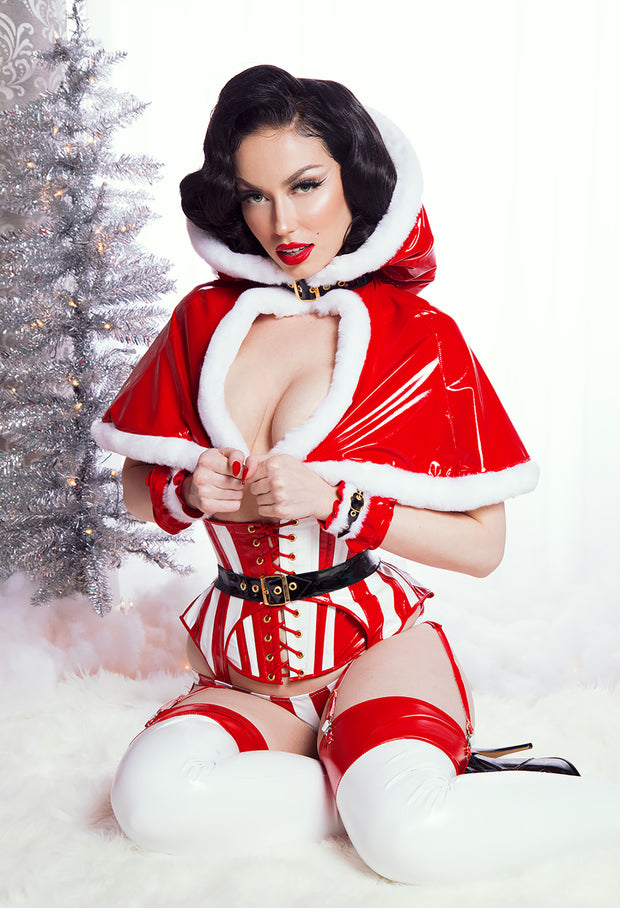 Fur and PVC Christmas Gloves
