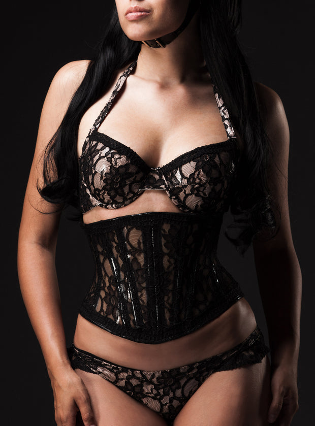 Padded PVC pushup bra with lace overlay