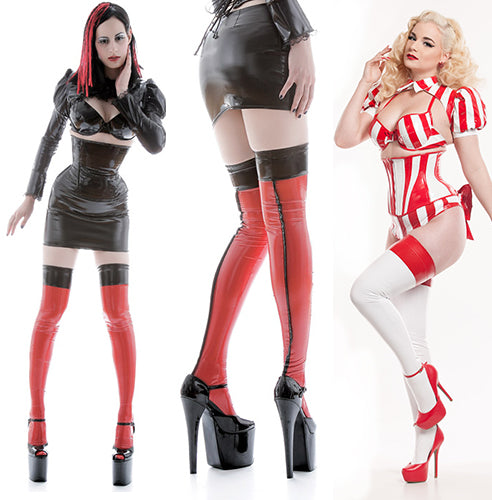 Cuban heel PVC stockings