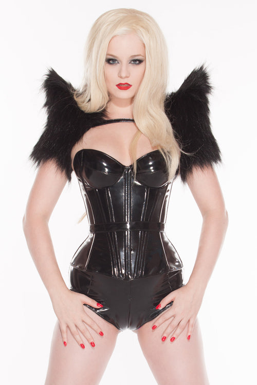 Padded bust cup PVC Overbust Corset
