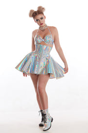 Holographic PVC Corset Skirt