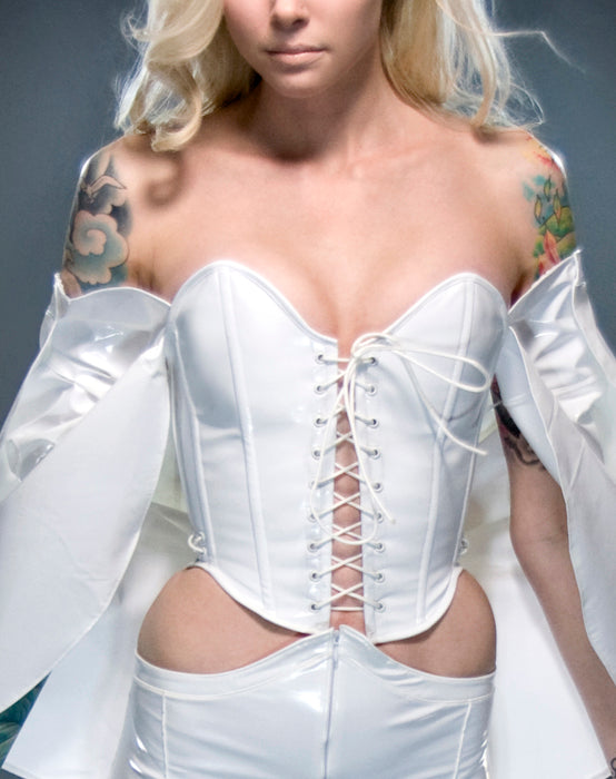 PVC Emma Frost angled overbust corset