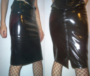 Plastic zipper PVC pencil skirt