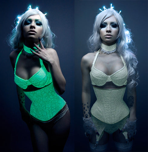 Glow in the Dark Lace overlay pushup Bra