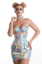 Silver Patent Holographic high waisted Zipper miniskirt