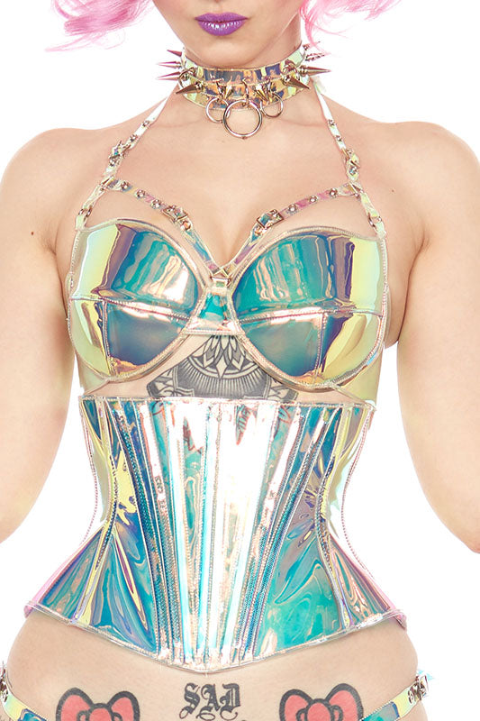 Holographic PVC Harness buckle Bra