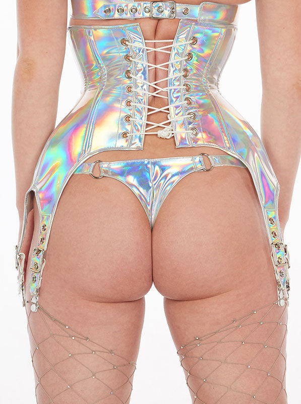 Holographic PVC Zipper buckle thong