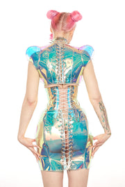 Holographic PVC Lace up back shrug