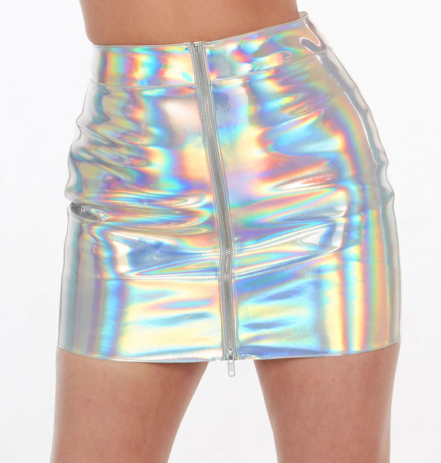 Holographic PVC Zipper Skirt