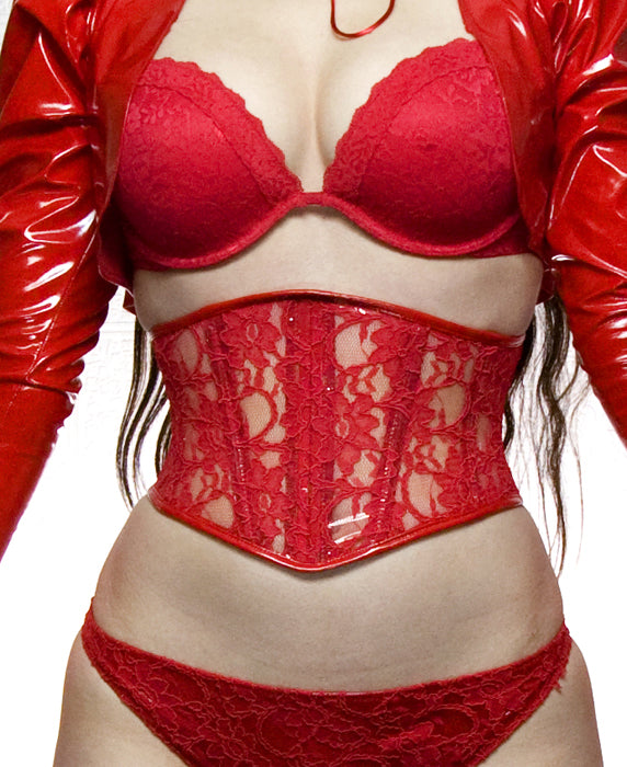 Angled Clear PVC with Lace overlay Corset Belt