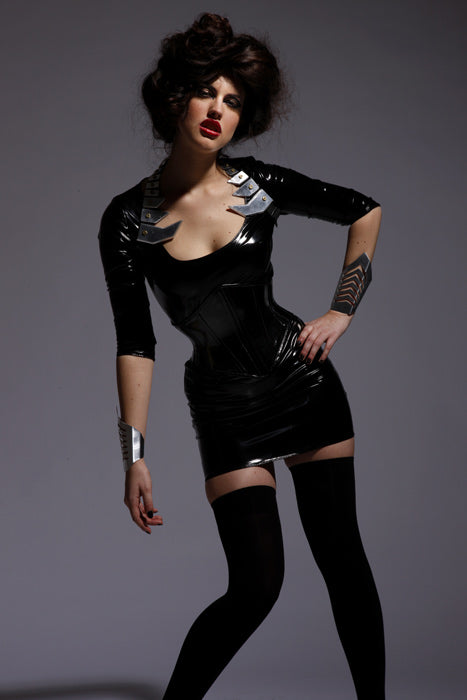 Basic 3/4 sleeve PVC dress