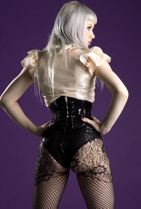 High waisted Formal lace overlay PVC Underwear