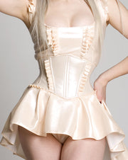 Angled Corset belt with pleated accents