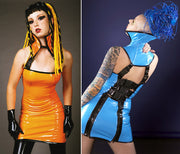 Radia high collared PVC dress