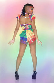 Clear PVC and Lace Rainbow shrug